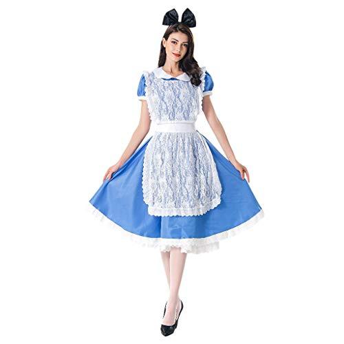 Kostüm Bergmann Kinder - Deloito Damen 3-Teiliges Set Oktoberfest Dirndlkleid Maid Kurzarm Midi Kleid Bayerisches Bierfest Cosplay Kostüme Mädchen Tavern Clubkleidung (Blau,X-Large)