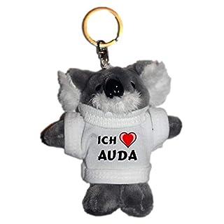 SHOPZEUS Plüsch Beutelbär Schlüsselhalter mit T-Shirt mit Aufschrift Ich Liebe Auda (Vorname/Zuname/Spitzname)