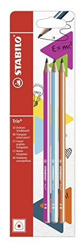 Stabilo trio matita in grafite 2b rosa/arancio/blu - blister da 3