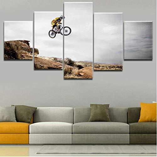 Wohnkultur Leinwanddruck Malerei 5 Panel Fahrrad Jump Mountain Bike Sport Poster Für Wohnzimmer Wandkunst Dekorative-100cm(W) x55cm(H)