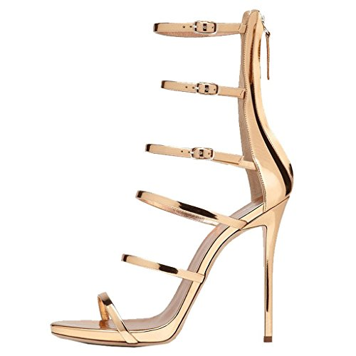 EKS Damen Gold Gladiator Thin Straps Stilettos High Heels Elegante Sandalen Party Sandals 39 EU Stiletto Heel Sandale