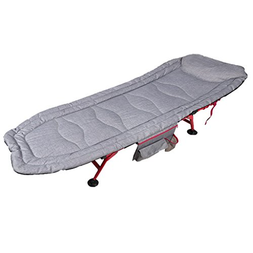 SjYsXm-Sunloungers Hellgrau Sonnenliege Outdoor Camping Bett Klappbett Einzelbett Siesta Lounge Chair Office Einfache Portable Erwachsenen Gästebett mit Becherhalter und Aufbewahrungstasche