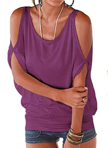 DoubleYI Damen Schulterfrei Shirt Rundhals Tunika Top off Shoulder Bluse Oberteil Lila