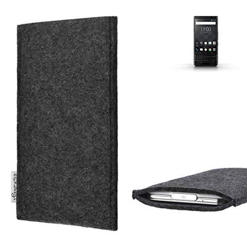 flat.design Handy Hülle Porto für BlackBerry KEYone Black Edition vegane Handytasche Filz Tasche Schutz Case fair dunkelgrau