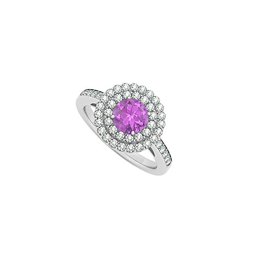 Halo Amethyst and Double Circle Cubic Zirconia 14K White Gold Round Engagement Ring