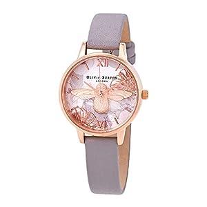 Olivia Burton Damen Analog Quarz Uhr mit Leder Armband OB16VM17