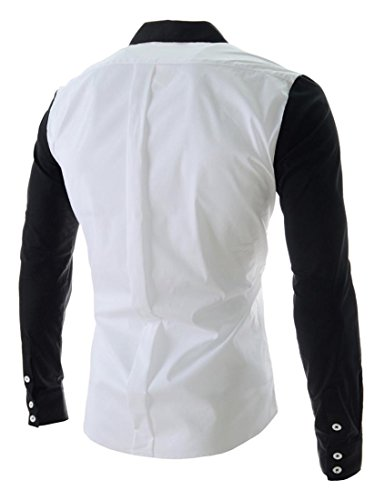 Jeansian Hommes Chemise Casual Slim Fit Trend Fashion Mens Shirt 8602 white