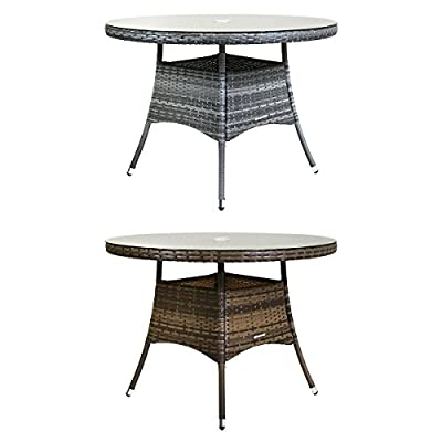 Charles Bentley Medium 4 Seater Rattan Dining Table Indoor Outdoor Patio Conservatory Garden Furniture - Available In Brown Or Grey produced by Charles Bentley - quick delivery from UK.