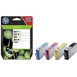 HP 364 - Pack de ahorro de 4 cartuchos de tinta Original HP 364 Negro, Cian, Magenta, Amarillo para HP DeskJet, HP OfficeJet y HP PhotoSmart