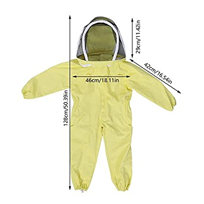 Zerodis Beekeeping Suit with Veil Protective Bee Suit for Kids,Professional Beekeeping Jumpsuit Bee Visitor Cotton Long Sleeve Children Protection Bee Keeping Supplies(M) 3