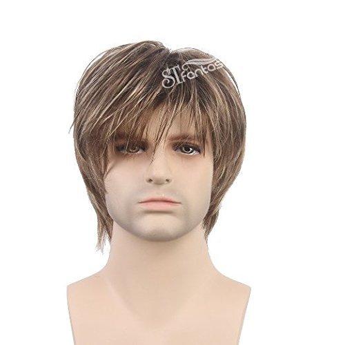 STfantasy Herren-Perücke, blond, mehrfarbig, kurz, gerade, für Männer, schick, Anime-Kostüm, alltäglicher Gebrauch