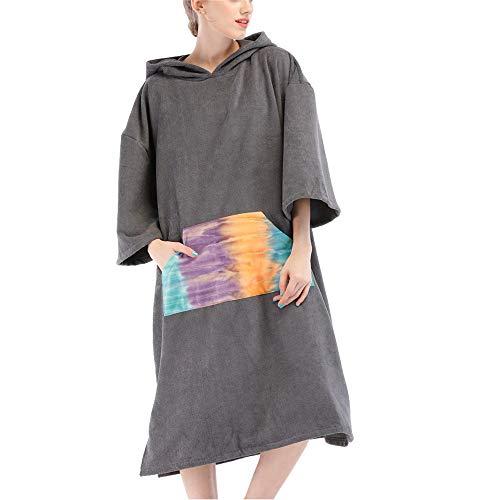 Herren-spa-roben (BESTSOON Spa-Robe mit Kapuze Wasserabsorbierendes Reise-Tauch-Strandtuch für Erwachsene Schnell trocknender Bademantel Mit Kapuze Schal Wickelauflage Leichter Plüsch Fleece-Fleece)