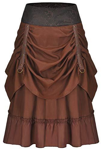 Bslingerie® Damen Gothic Punk Steampunk Braun Kleidung Kurzer Rock (Braun Satin, XL) (Steampunk Kleidung Für Damen)