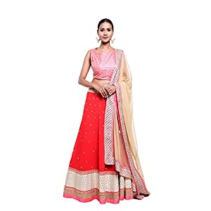 Pushp Paridhan Designer New Collection Traditional Ethnic Wear Machine With Hand Work Red,Pink Lehenga Choli Set For Women