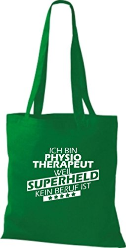 Shirtstown Stoffbeutel Ich bin Physiotherapeut, weil Superheld kein Beruf ist kelly