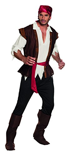 Boland 83533 - Erwachsenenkostüm Pirat mit Hose,Shirt,Weste,Stiefelstulpen und Gürtel, Größe 54 / (Karibik Piraten Kostüm Herren)
