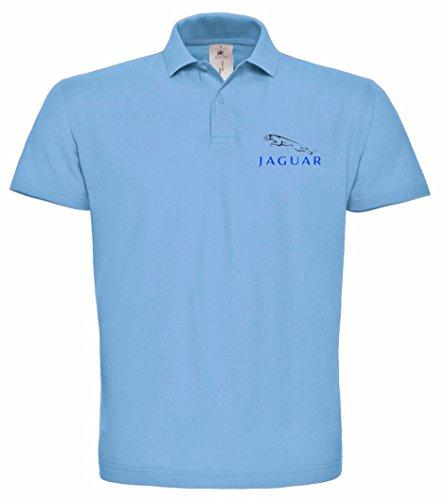 avstickerei JAGUAR bestickte Polo Poloshirt, verschiedene Farben, super Premium-Qualität, 100% Baumwolle hochwertige Stickerei (M, Blau)