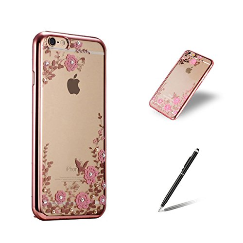"""Feeltech iphone 6 Plus/6s Plus 5.5"""" Bling Glitter Silicone Case Soft Ultra Slim TPU Bumper Gel Rubber Skin Clear Silicone Back Cover With Luxury Shinning Crystal Rhinestone Sparkle Silicone Frame Prot rose or roses henné"""
