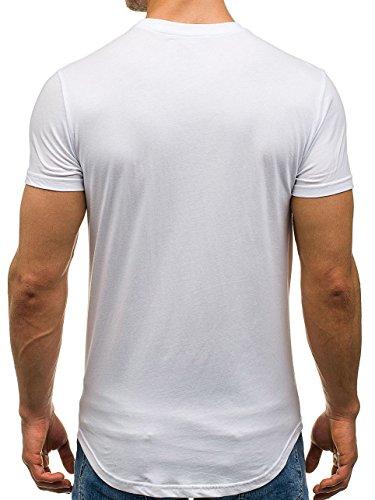 BOLF Herren T-Shirt Tee Kurzarm Rundhals Slim Sommer Print Aufdruck 3C3 Motiv Weiß