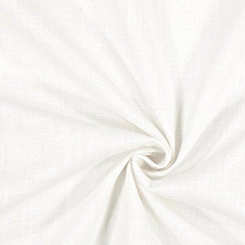 Fabulous Fabrics Leinenstoff mittelschwer, Weiss - Leinenstoffe zum Nähen von Leinenhosen, Freizeithemden, Leinenkleider und natürliche Dekoration - Meterware ab 0,5m - Sommer-stoffe-leinen-stoff