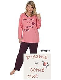 Langer Schlafanzug für Damen Übergröße - Pyjama in 2 verschiedenen Farbvarianten Grösse 48/50, 52/54, 56/58 & 60/62