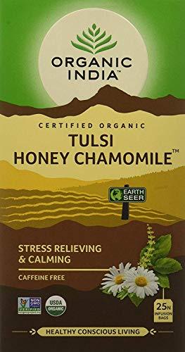 Organic India Green Tea|Organic India Tulsi - 25 Tea Bags (Honey Chamomile)