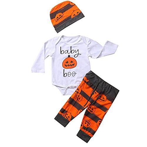 Chicolife baby bbq striped costituzione costume da costume vestiti halloween outfits con cappello di zucca