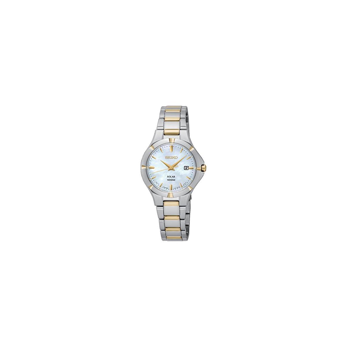 41xUiq6JZfL. SS1200  - Seiko Reloj Analogico para Mujer de Energía Solar con Correa en Acero Inoxidable SUT294P1