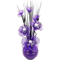 Flourish Lilas Fleurs artificielles avec Vase Prune décoration, Accessoires et décoration pour Salle de Bain, Chambre à Coucher ou Cuisine Violet 32 cm