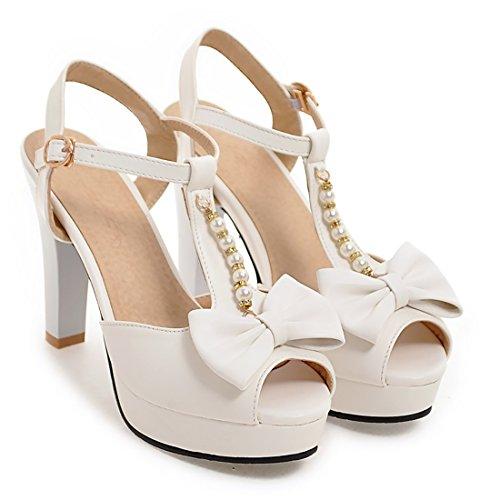 UH Sandales Femmes Bride Cheville avec Noeuds Papillon pour Mariage à Talons Hauts Blocs Peep Toe de Fermeture Boucle Blanc