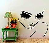XXPF Vinyle Salon De Beauté Femme Coiffure Joli Visage Gros Plan Yeux Longs Cils Room Decor Mural
