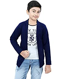 SDS Fashion Boy's Full Sleeve Cotton White Printed T-Shirt with Navy Blue Jacket Shrug Look Smart and Comfortable for Any Casual and Festive Purpose
