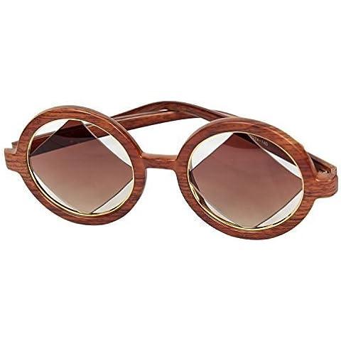 FreshGadgetz 1 Set di Occhiali da sole nuovi ed assolutamente alla moda, rettangolari color legno Sandalo per attirare l'attenzione e proteggere gli occhi dai raggi UV