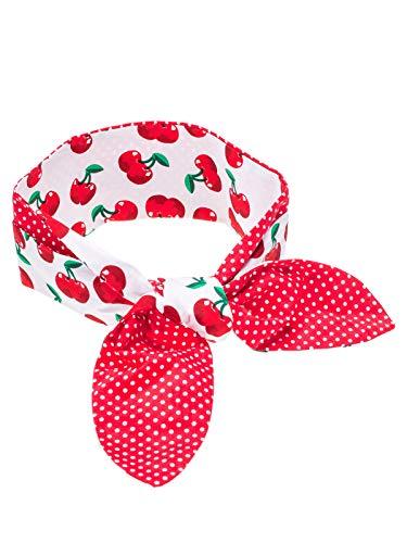 SETRINO Rockabilly Haarband Punkte Kirschen breit rot weiss -
