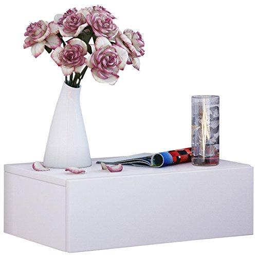 VCM Wand Nachttisch Wandschublade Schublade Tisch Nachtschrank Nachtkonsole Wandboard Regal Weiß 30x46x15 cm 'Dormas'