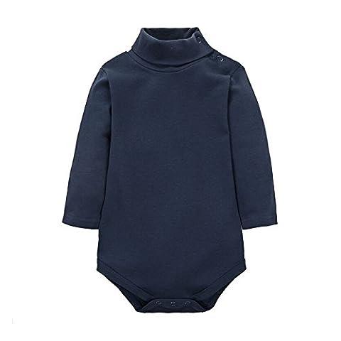 CuteOn Baby Boys Girls Solid Color Basic Turtleneck Cotton Bodysuit Jumpsuit Royalblue 6 Months
