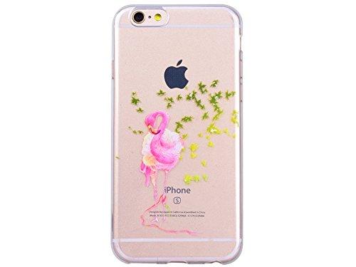 GrandEver Coque iPhone 6 / iPhone 6s Silicone Gel TPU Transparente Souple Housse Protecteur avec Absorption Case avec Bumper Anti-Scratch Cover Etui pour iPhone 6 / iPhone 6s (Flamingos Motif ) Flamingos