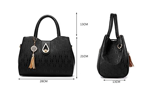 Flada, Borsa a tracolla donna nero Black medium Purple