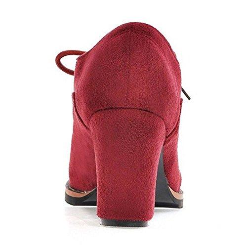 Tacco Con Rosso Donne H In Lacci Razamaza Blocco Invernali Stivali xw6fq4