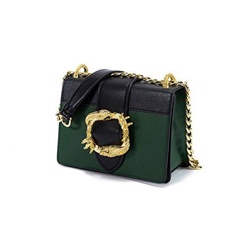 Echtes Leder-Frauen-Beutel Metall Serpentine Eckiger Schnalle Einzelne Schulter-Umhängetasche Tasche Green