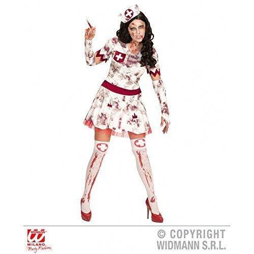 Lively Moments Kostüm Zombie Krankenschwester / Kleid mit Handschuhen und Haube / Damenkostüm Halloween Gr. L = 42 (Krankenschwester Kostüm Handschuhe)