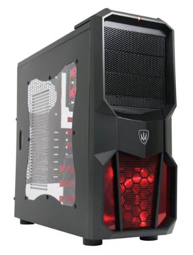 CiT - Case Neptune per PC Gaming, ventola 12 cm con LED rossi, finestra laterale, alloggiamenti rossi senza viti
