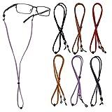 LAOYE 6 Paquetes Correa de Soporte de Gafas Ajustable, 70 mm Lentes de Cuero premium Cuerda de Sujeción de Cuerda Unisex Retenedor de Gafas para Todo Tipo de Gafas