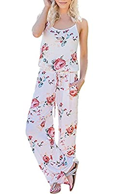 ECOWISH Womens Jumpsuits Summer Floral Printed Spaghetti Strap Sleeveless Casual Jumpsuit Rompers