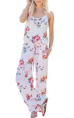 ECOWISH Jumpsuit Damen Elegant Sommer Hosenanzug Blumenmuster Ärmellos Overall Romper