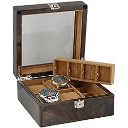 8Paar Manschettenknöpfe und 4-teiliges Uhren-Sammler Box in dunklen Wurzelholz von aevitas