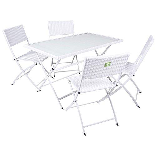 Enrico Coveri 100479 Ensemble de Jardin, Bar, Restaurant, Table + 4 chaises Pliantes Blanches en Poly-rotin