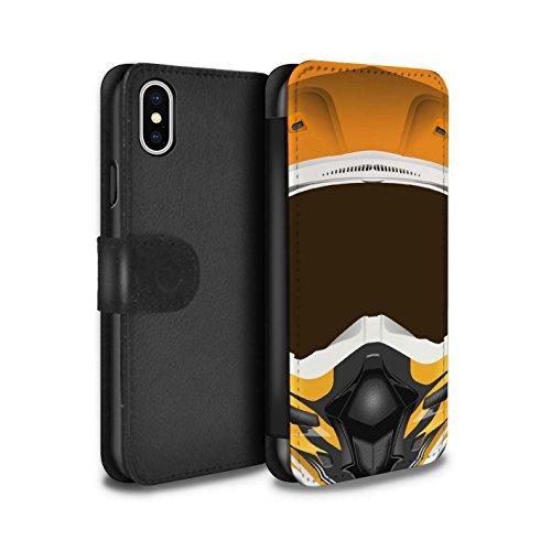 Stuff4 Coque/Etui/Housse Cuir PU Case/Cover pour Apple iPhone 4/4S / Motocross/Rouge Design / Casque Moto Collection Motocross/Orange
