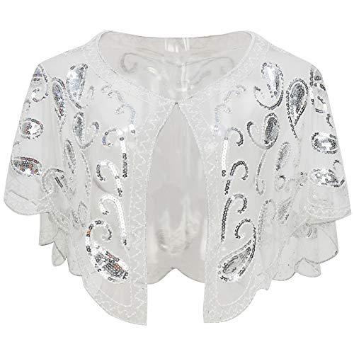 ArtiDeco 1920er Jahre Retro Schal Umschlagtücher für Abendkleider Stola für Hochzeit Party Gatsby Kostüm Accessoires (Weiß) (1920 Ideen Kleid)