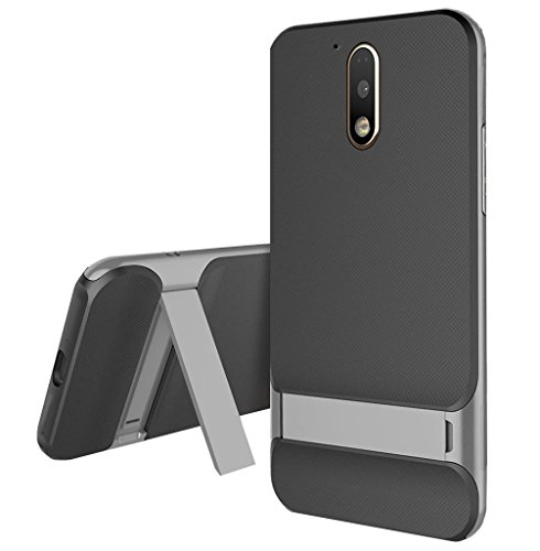 Norby Dual Layer PC with TPU Shock Proof Kick Stand Kickstand Back Cover Case for Motorola Moto G4 Plus (Grey)